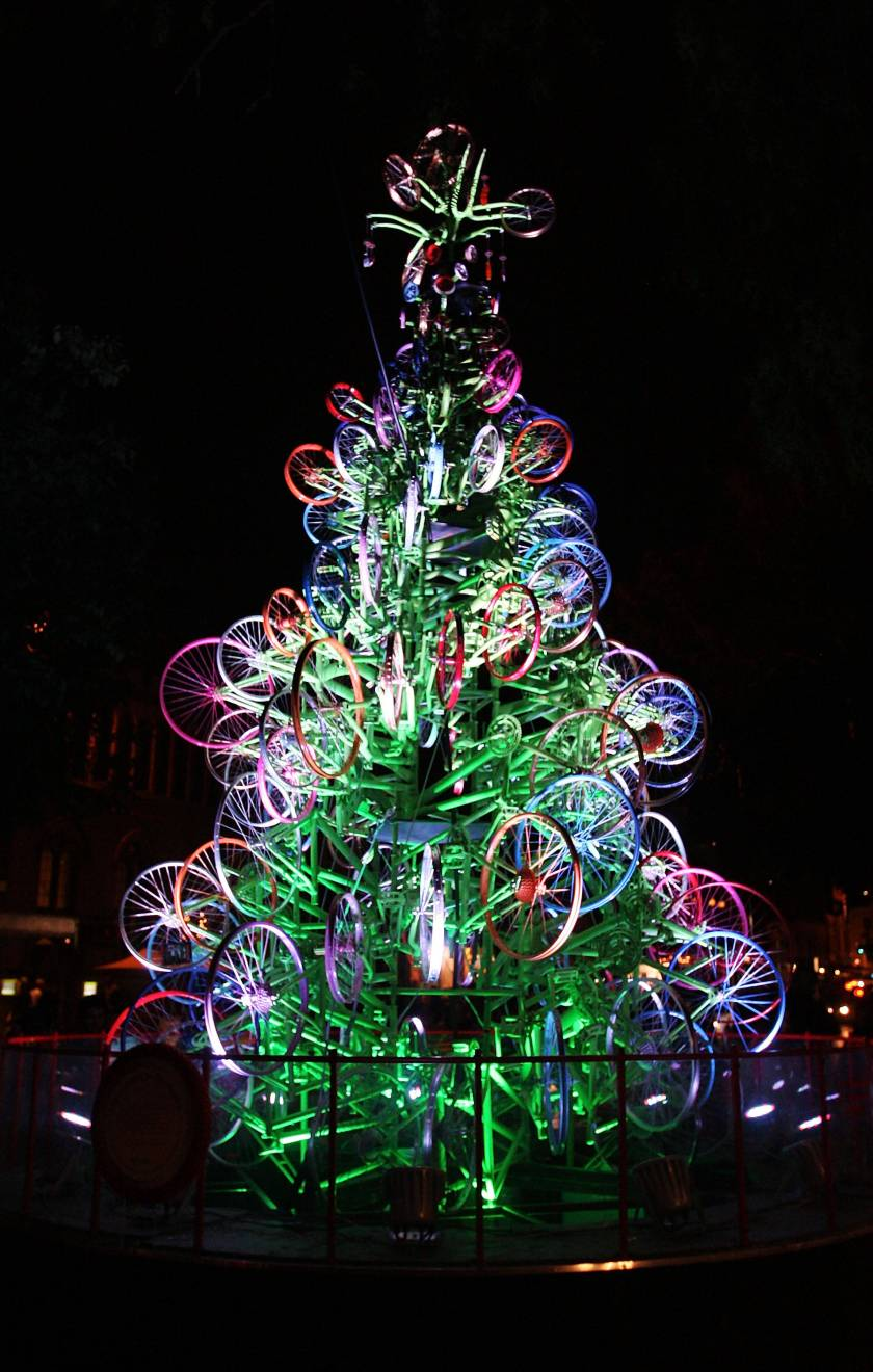 Christmas Tree Made of Bicycles Unveiled At The Rocks